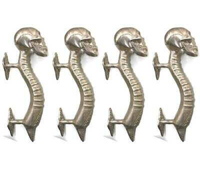 4 small SKULL handle DOOR PULL spine solid BRASS old vintage style SILVER 21 cmB
