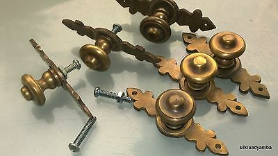 "6 pulls handles solid brass door vintage old style knobs kitchen heavy 3"" aged B"