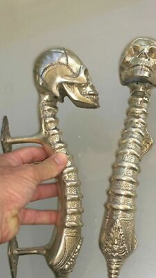 2 SKULL handle DOOR PULL spine solid BRASS old vintage style SILVER 280mm B