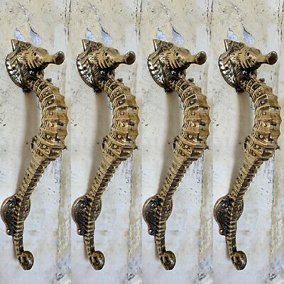 "8 small SEAHORSE solid brass door AGED old style house PULL handle 10"" pair B"