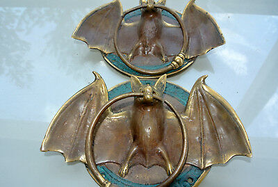 "2 aged Door Knocker BAT ring old heavy front SOLID BRASS vintage style 7"" B"