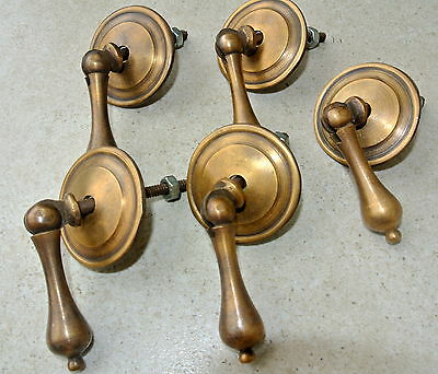 "5 small knob pulls handles brass door old vintage antique style drops knobs 2"" B"
