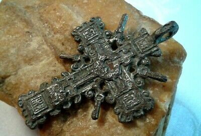 "UNIQUE c.16-18th CENTURY LARGE SILVER ""OLD BELIEVERS"" ORTHODOX ""SUN"" CROSS"