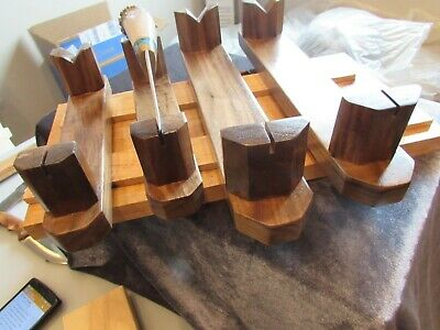 "KNIFE HOLDER/STAND/SOLID WALNUT /8 or12""/U.S.A. MADE/REAL LACQUER/3D POSTS/SALE"