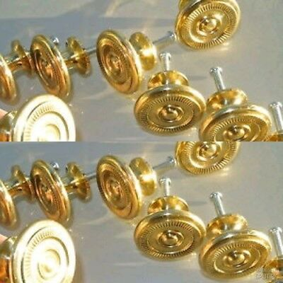 16 small KNOBS pulls handles solid POLISHED brass door old style kitchens 34mm B