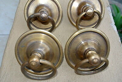 """4 small handle ring pull solid brass heavy old vintage style DOOR 3"""" wide B"""