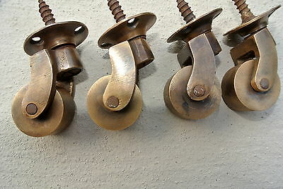 "4 small screw castor chair table 1"" wheel solid brass castors old style look B"