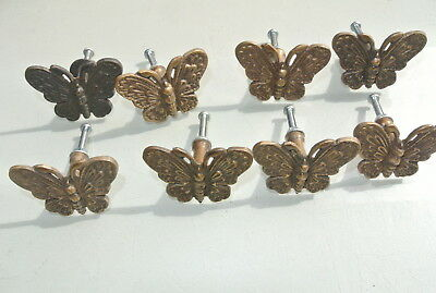 "8 heavy Butterfly handles aged solid Brass PULL knobs vintage style 2"" knobs B"