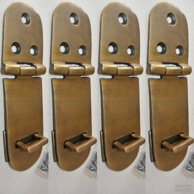 "4 small box catch hasp latch old style solid brass DOOR heavy rectangle 4"" B"