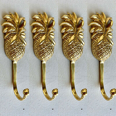 4 small PINEAPPLE BRASS HOOK COAT WALL MOUNT HANG old style 12 cm polished B