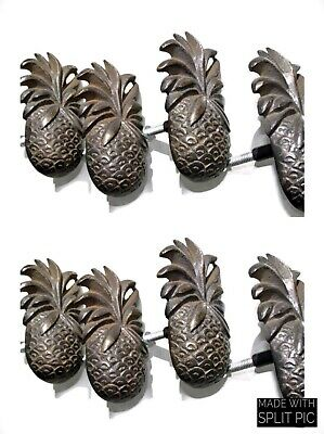 8 small PINEAPPLE solid BRASS knobs TROPICAL VINTAGE old style 75 mm B