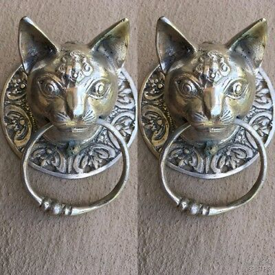 2 Cat head heavy Door handle SOLID brass old style silver ring pull hook 10 cm B