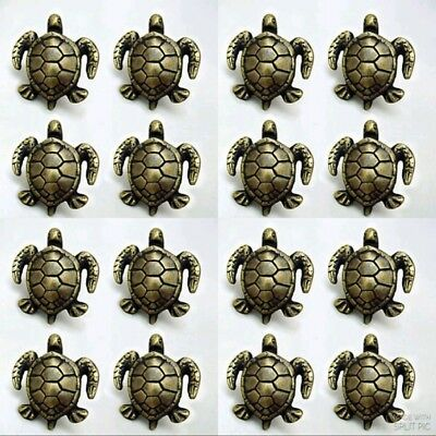"16 PCS ANTIQUE style TURTLE Cabinet Door solid Brass KNOB Drawer Pull 2"" B"