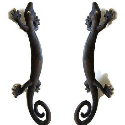 2 large GECKO brass door vintage old style house PULL handle 35cm aged curly B