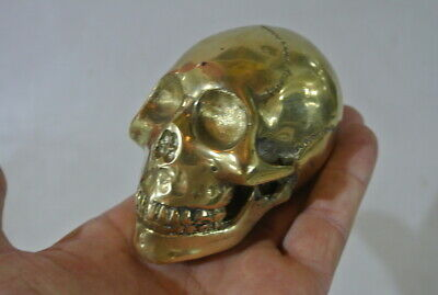 small aged BRASS hollow head skull brass day of the dead pattern statue 13 cm B