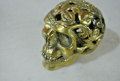 small engraved BRASS hollow head skull brass day the dead pattern statue 13cm B