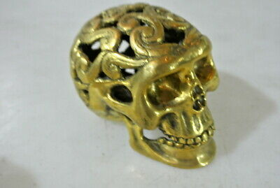 small engraved BRASS hollow head skull brass day the dead pattern statue 10 cm B