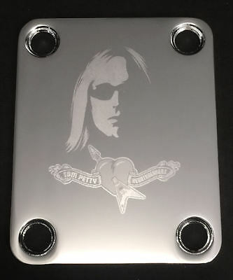 GUITAR NECK PLATE Custom Engraved Etched Fit Fender - TOM PETTY - Chrome