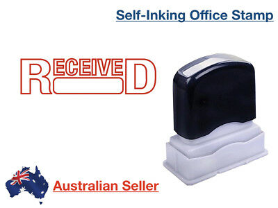 RECEIVED Red Pre-Inked Date Rubber Stamp Office Custom Self Inking Delivered Ink