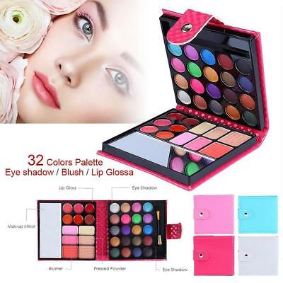 32 Colors Shimmer Eyeshadow Eye Shadow Palette & Makeup Cosmetic Brush Set MT