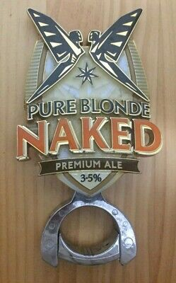 Carlton & United Pure Blonde Naked Premium Ale Metal Badge with Mount Top