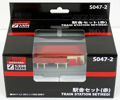 Rokuhan S047-2 Z Scale Train Station Set (Red) (1/220 z scale)