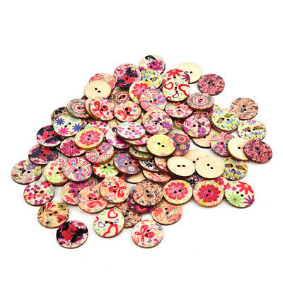 Retro Vintage Decorative Wooden Buttons - 20mm - Pack of 5 - Sewing/Scrapbooking