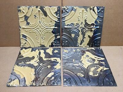 """4pc Lot of 12"""" by 12"""" Antique Ceiling Tin Vintage Reclaimed Salvage Art Craft"""