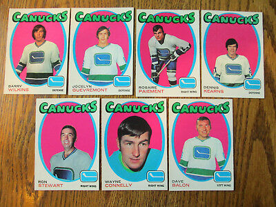 Lot of 7 DIFF HIGH GRADE 1971-72 O-Pee-Chee VANCOUVER CANUCKS HOCKEY Cards OPC
