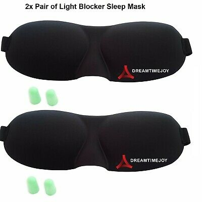 2x Soft Padded Blindfold 3D Eye Mask Travel Sleep Rest Aid Shade Cover Unisex