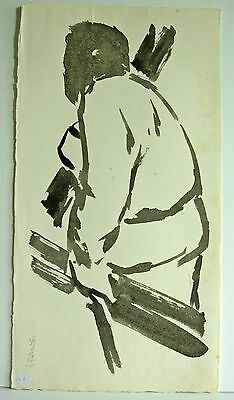 Gerald Anthony Coles painting - figure carrying wood - signed 1962 (cat: VX)