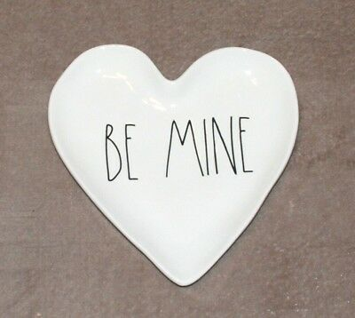 """New Rae Dunn """"BE MINE"""" Heart Shaped Valentine's Day Plate LL Large Letter"""