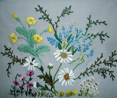 Vintage Hand Embroidered Linen Unframed Picture Field Flowers