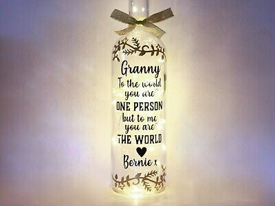 Personalised Mother's Day Gifts, Bottle Light For Granny, Grandma, Nan, Nanny
