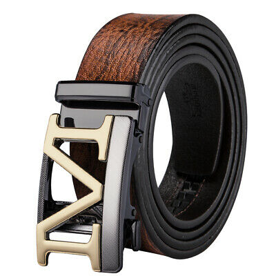 UK Brown Genuine Leather Mens Belts Automatic Hollow M Buckle Dress Jeans Belts