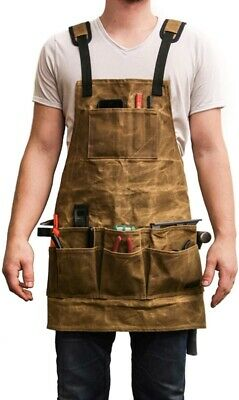 Waxed Canvas Shop Tool Apron Workshop Heavy Duty Pockets Work Utility Men Women