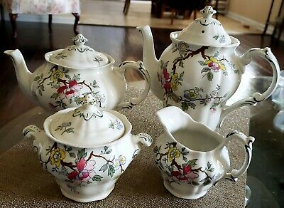 Rare English Booths Chinese Tree Teapot And Coffee Pot With Sugar & Creamer