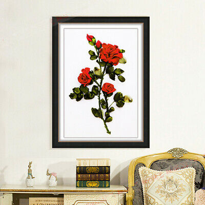 Rose Ribbon Embroidery Kit DIY Painting Stamped Cross Stitch for Beginners