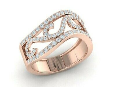 Natural 1carat Round Cut Diamond Bridal Wave Fancy Right Hand Ring 10K Gold