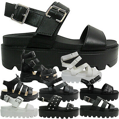 Womens Ladies Low Wedge Platforms Flatforms Buckle Straps Shoes Sandals Size