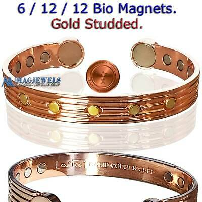 Pure Solid Copper Gold Studded Bio Magnetic Bracelet Men Women Arthritis Cb69V