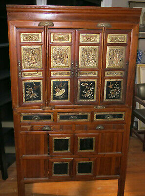 Antique Chinese Kitchen Cabinet Beautiful Wooden Carvings c 1860