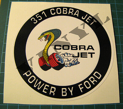 """Vintage Style 351 Cj 4"""" Dia Vinyl Sticker-Decal - Power By Ford - Racing Engine"""