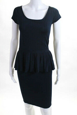 ac1cecfc840244 ZAC Zac Posen Dark Blue Stretch Knit Cap Sleeve Peplum Dress Size Small