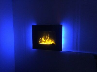 2019 Truflame 7 Colour Led Black Glass Flat Electric Wall Mounted Fire