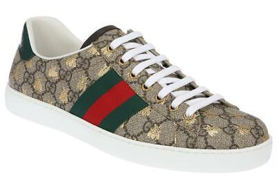 3a496637314 NEW GUCCI MEN S Ace Beige Gg Supreme Web Gold Bee Sneakers Shoes 7 G ...