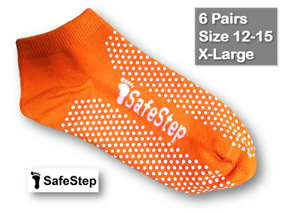 6 Pairs Medical Grip/Non-Slip Socks Size 12-15 (X-Large) Hospital Quality