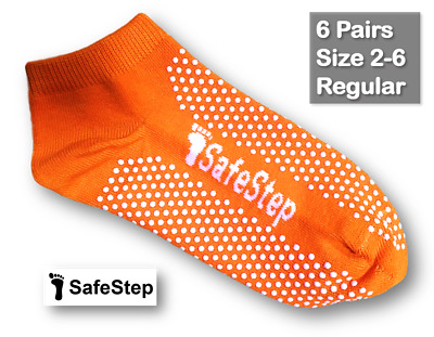 6 Pairs Medical Grip/Non-Slip Socks Size 2-6 (Regular) Hospital Quality