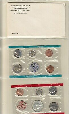 1969 Clad US Mint Set P, S & D Unc. 10-Coin with Kennedy 50c and Envelope