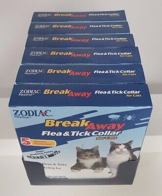 6 Pack Zodiac Breakaway Flea and Tick Collar for Cats 5 Months Protection